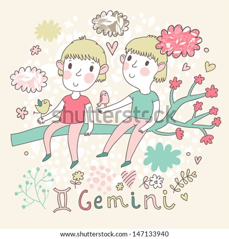 Cute zodiac sign - Gemini. Vector illustration. Little boys playing with birds on the branch in cloud sky. Doodle hand-drawn style - stock vector