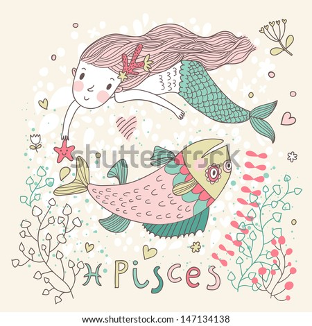 Cute zodiac sign - Pisces. Vector illustration. Little mermaid swimming with big fish with flowers and water plants. Doodle hand-drawn style - stock vector