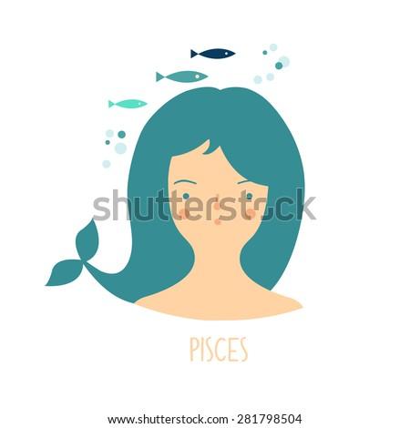 Cute zodiac sign - Pisces. Vector illustration. Zodiac beautiful girl - stock vector