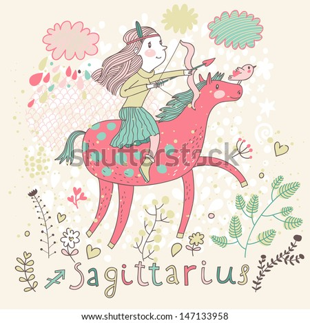 Cute zodiac sign - Sagittarius. Vector illustration. Little girl riding on pink horse and shooting arrows. Background with flowers and clouds. Doodle hand-drawn style - stock vector