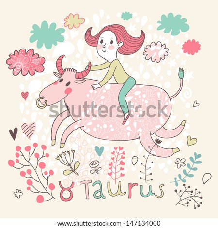 Cute zodiac sign - Taurus. Vector illustration. Little girl riding on the big pink calf with clouds and flowers. Doodle hand-drawn style - stock vector