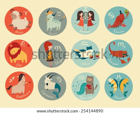 Cute zodiac signs icon. Hand-drawn style. 12 characters in one set - stock vector