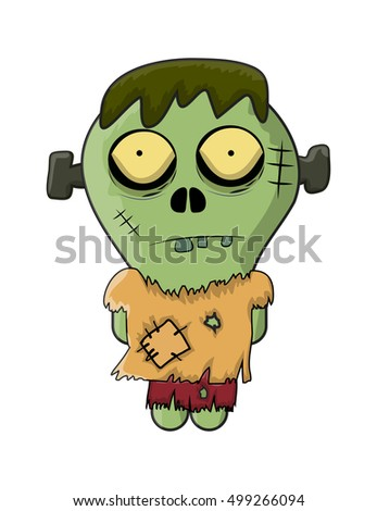 cute zombie, halloween frankenstein vector symbol icon design. Beautiful illustration isolated on white background