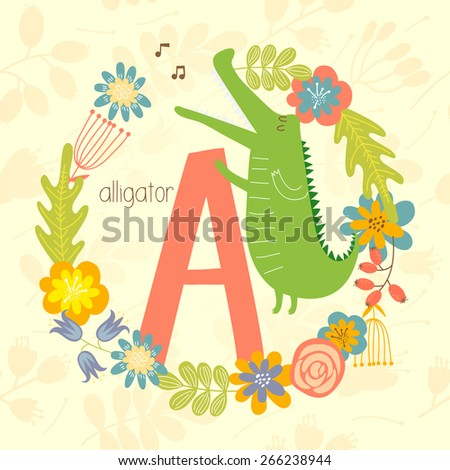 Cute Zoo alphabet, Alligator singing a song with letter A and floral wreath in vector.  - stock vector