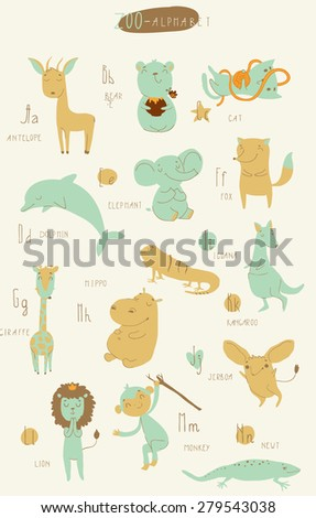 Cute zoo alphabet in vector. A, b, c, d, e, f, g, h, i, j, k, l, m, n letters. Isolated illustration of cute animals.  Learn English - stock vector