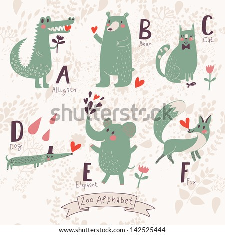 Cute zoo alphabet in vector. A, b, c, d, e, f letters. Funny animals in love. Alligator, bear, cat, dog, elephant, fox. - stock vector