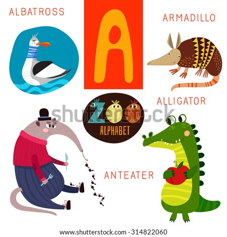 Cute zoo alphabet in vector.  A letter. Funny cartoon animals: Albatross,armadillo,alligator,anteater . Alphabet design in a colorful style. - stock vector