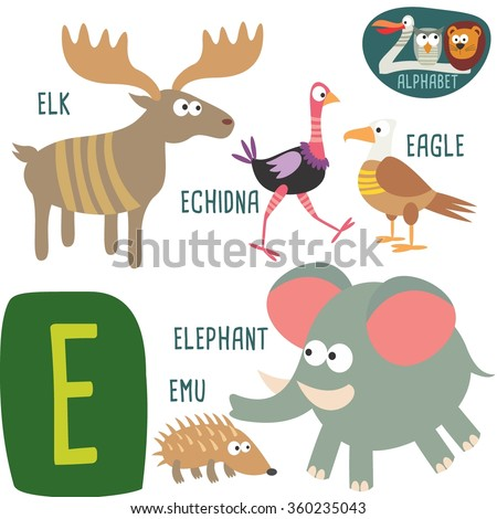 cute zoo alphabet vectore letter funny stock vector 360235043