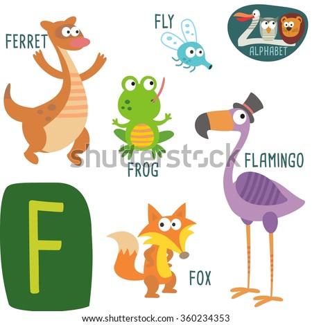 cute zoo alphabet vectorf letter funny stock vector 360234353