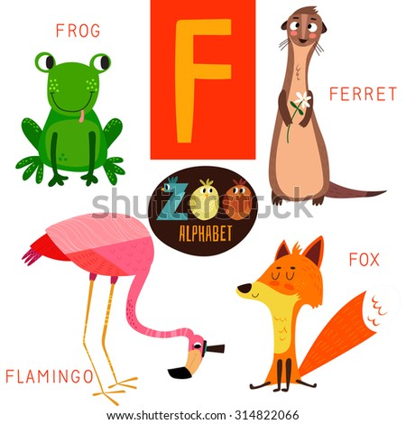 animals that start with the letter f zoo alphabet vector f letter stock vector 20456