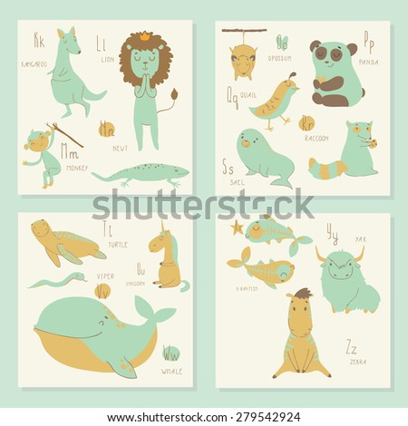 Cute zoo alphabet in vector. K, l, m, n, o, p, q, r, s, t, u, v, w, x, y, z letters. Isolated illustration of cute animals.  Learn English - stock vector