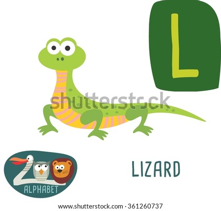 Cute Zoo alphabet in vector. L letter for Lizard funny cartoon animals. alphabet design in a colorful style