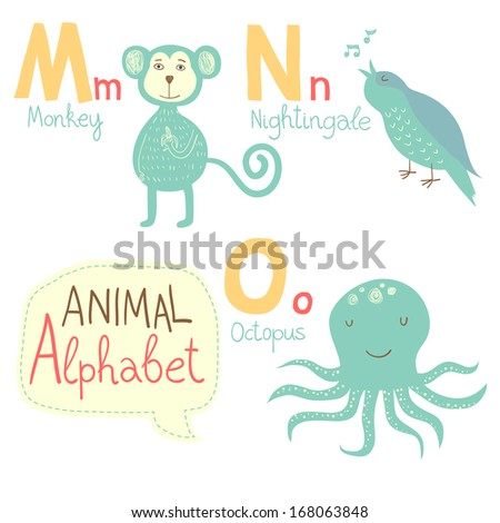 Stock vector cute zoo alphabet in vector m n o letters funny animals