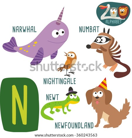 cute zoo alphabet vector n letter stock vector 360243563