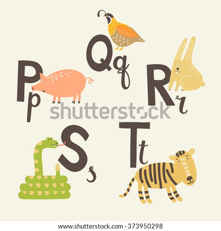 Cute zoo alphabet in vector. P, q, r, s, t letters. Funny animals. Pig, rabbit, quail, snail and tiger. - stock vector