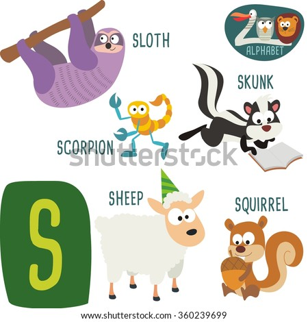 animals that start with letter a zoo alphabet vector s letter stock vector 360239699 20453 | stock vector cute zoo alphabet in vector s letter funny cartoon animals sloth scorpion skunk sheep 360239699