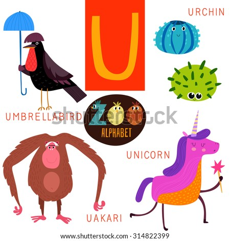 animals that start with the letter u zoo alphabet vector u letter stock vector 314822399 45747