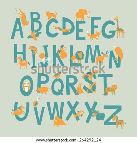 Cute zoo alphabet in vector with different animals. Vector illustration. - stock vector