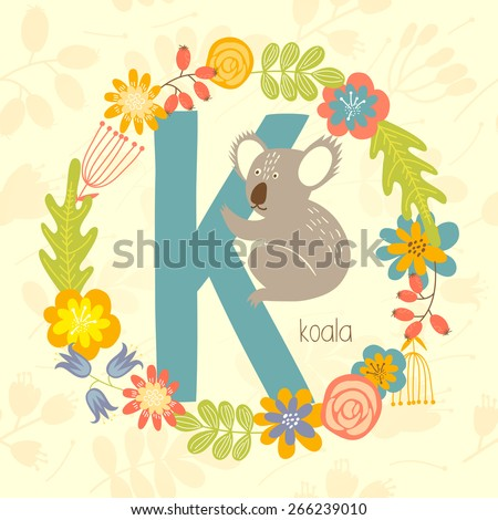 Cute Zoo alphabet, Koala with letter K and floral wreath in vector.  - stock vector