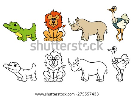 Cute Zoo Animals Collection Coloring Book Vector Illustration