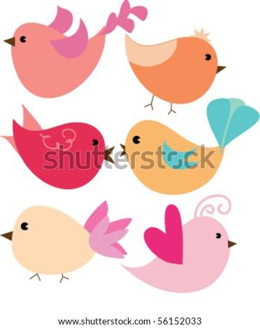 cuteb birds - stock vector