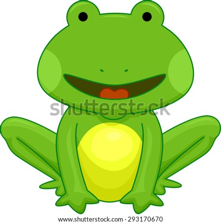 Cutesy Illustration of a Little Frog Smiling While Sitting