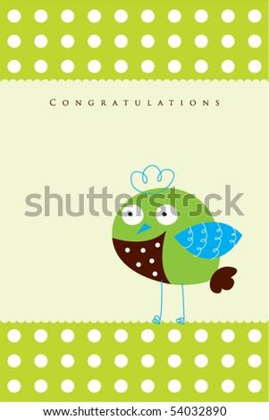 cutie bird doodle arrival greeting - stock vector