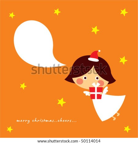 cutie christmas angel card - stock vector