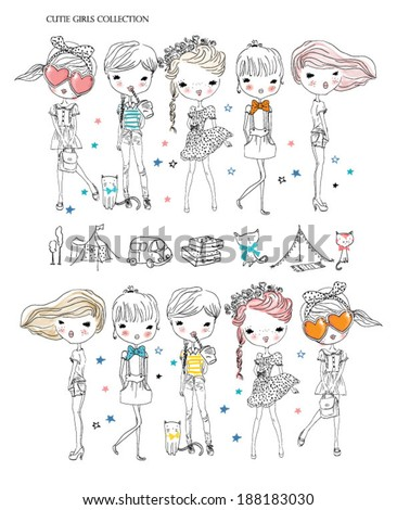 cutie girl collection - stock vector