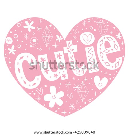 cutie heart shaped lettering design - stock vector