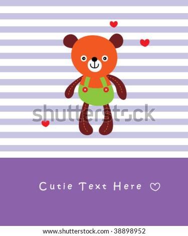 cutie teddy - stock vector