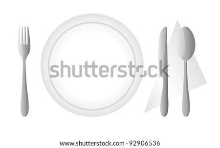 cutlery and dish isolated over white background. vector