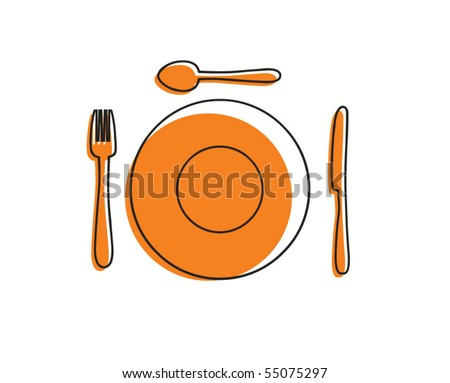 cutlery and plate - stock vector