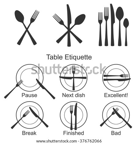 Cutlery and signs of table etiquette set. Vector illustration. Icons for catering facilities.  sc 1 st  Shutterstock & Cutlery Signs Table Etiquette Set Vector Stock Vector HD (Royalty ...
