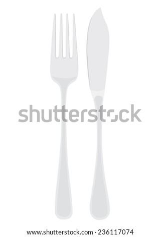 Cutlery - flatware fish set - fork and fish knife - vector - stock vector