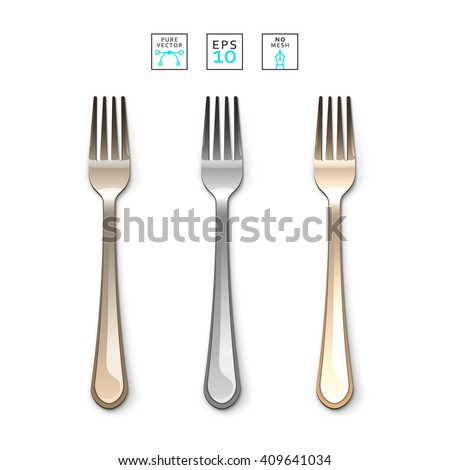 Cutlery Fork realistic. Fork, isolated on white. Set realistic forks. Fork to create a design. Gold and bronze , silver forks. Bright set of forks. Cutlery items realistic. Cutlery object realistic - stock vector