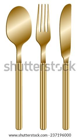 cutlery gold - stock vector