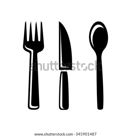 cutlery icon - fork, knife and spoon set