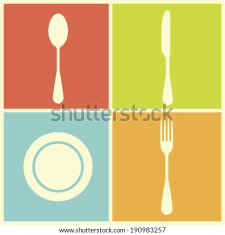 Cutlery icons isolated