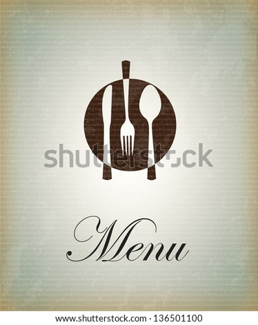 Cutlery icons over vintage background vector illustration - stock vector