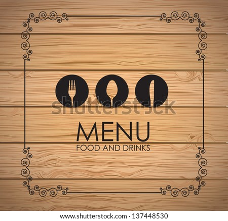 Cutlery icons over wooden background vector illustration - stock vector