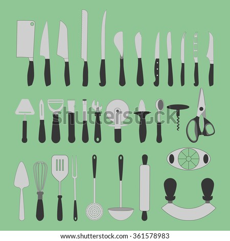 Cutlery Icons Set on the green background. Knife icon. Vector illustration