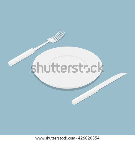 Cutlery isometrics. 3d Empty plate. Knife and fork. Kitchen utensils for eating. eating food - stock vector