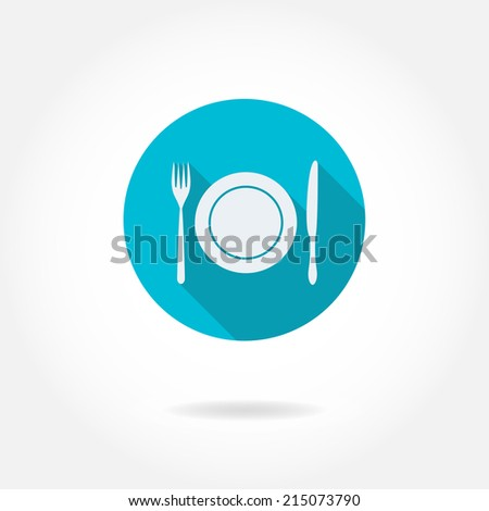 Cutlery: knife, fork, and dish. Vector icon or sign. Design element for restaurant menu. Flat design. - stock vector