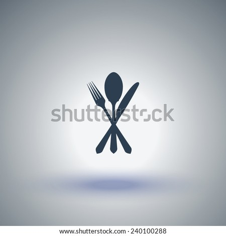 Cutlery - knife, fork and spoon icon - stock vector