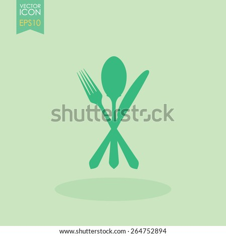 Cutlery - knife, fork and spoon icon.