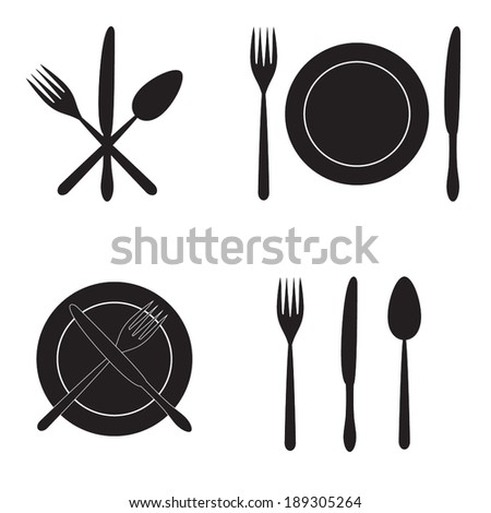 Cutlery: knife, fork, spoon and dish. Vector icons. - stock vector