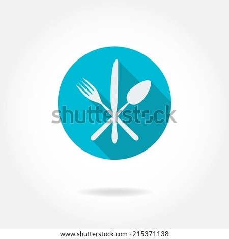 Cutlery: knife, fork, spoon. Vector icon or sign. Restaurant design element. - stock vector