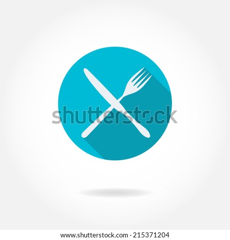 Cutlery: knife, fork,. Vector icon or sign. Restaurant design element. - stock vector