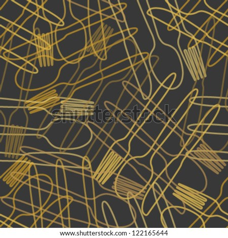cutlery orange outline seamless pattern - stock vector